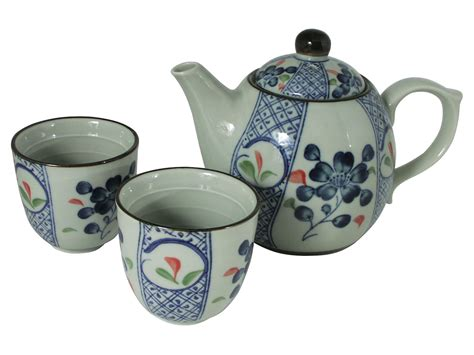 Japanesse Tea Set Green pale green with blue cherry blossom japanese tea set for two