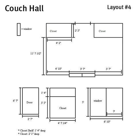 couch hall room dimensions college