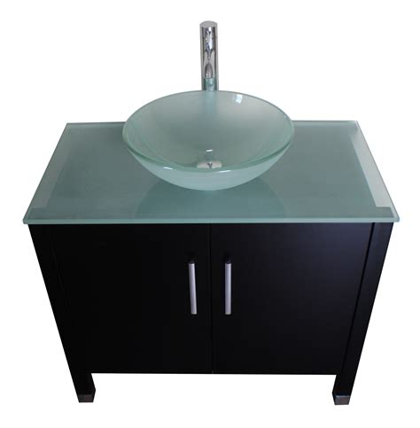 36 inch espresso wood glass vessel sink bathroom vanity set