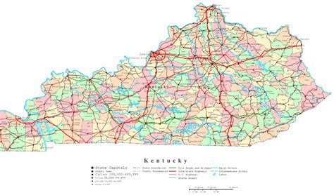 kentucky map counties roads kentucky printable map