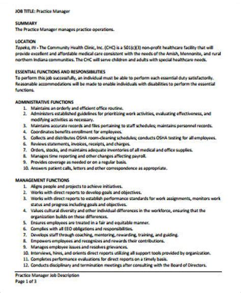 medical office manager job description sle 6