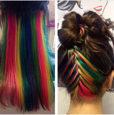 hairstyle with dark color underneath hidden rainbow hair is the perfect trend for low key rebels