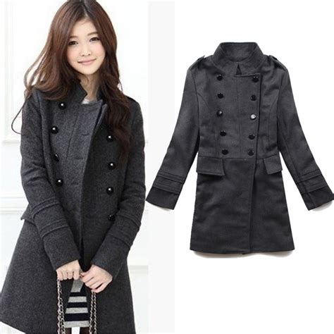 Ho2888 Topi Fashion Winter Wool Grey 2015 new fashion winter wool blends coat black grey breasted winter warmly