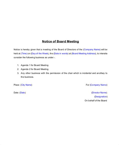 14 Meeting Notice Exles Sles Pdf Word Waiver Of Notice Of Board Meeting Template