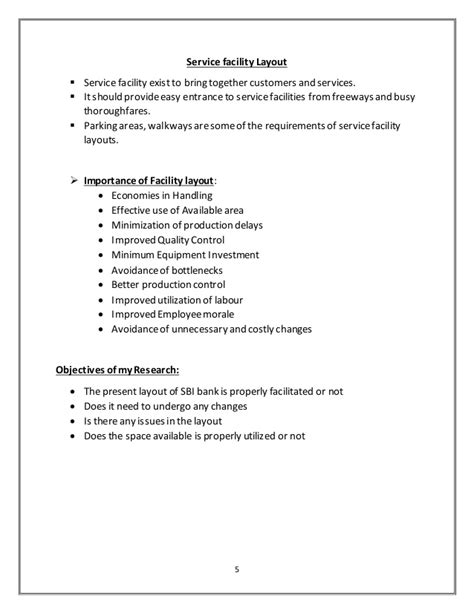 layout or report report on facility layout