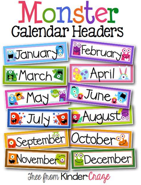 monster theme calendar headers classroom calendar