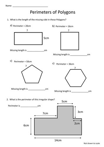 Perimeter Find The Missing Side Length Worksheet polygon perimeter worksheet missing lengths by craigyd