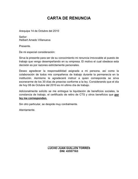 Carta De Renuncia Ejemplo Ecuador carta de renuncia