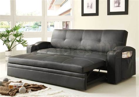 leather couch pull out bed novak black leather sofa bed with pull out trundle sofa