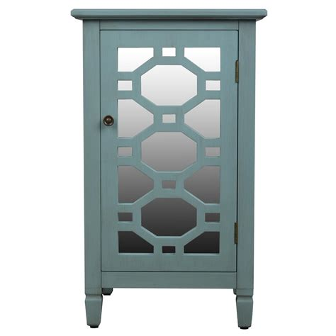 decor therapy end table decor therapy mirrored door antique iced blue accent end