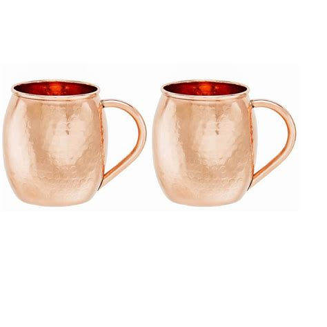 hammered copper mugs 16 oz hammered solid copper moscow mule mug set of 2 433h the home depot