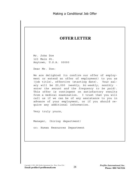 Offer Letter Contingent On Graduation Employment Guide Kd
