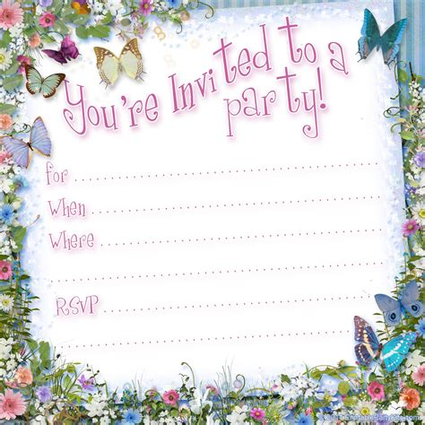 birthday invites free templates tea printable kits