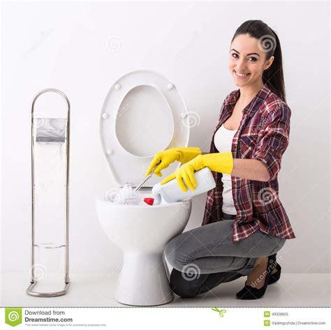women using bathroom housewife toilet stock photo image 49328825