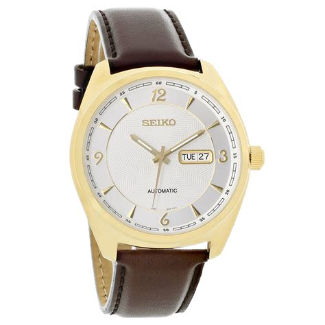 seiko recraft mens silver leather automatic