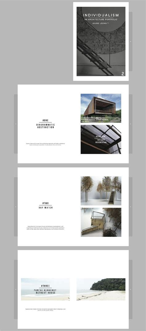 layout design features architecture portfolio by jhung leung it features simple