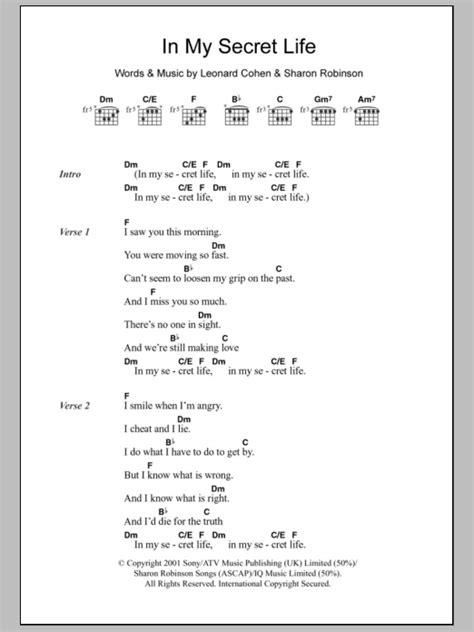 lyrics to secret by we three in my secret by leonard cohen guitar chords lyrics