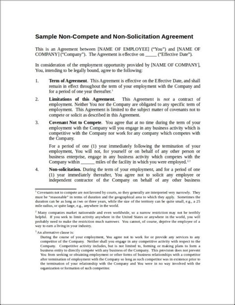 non solicitation agreement template 10 business contract sles templates free pdf word