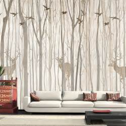 Rustic Wall Murals Europe Bird Tree Mural Wallpaper 3d Waterproof Living Room