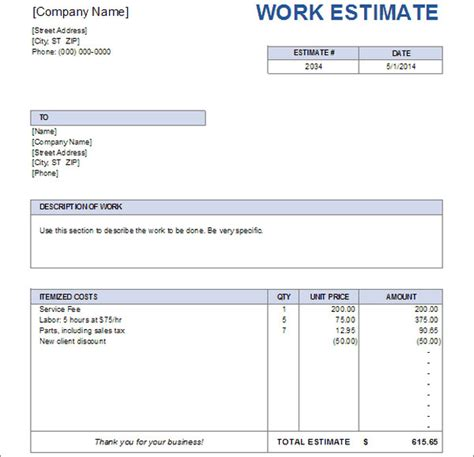 work estimate template estimate for work driverlayer search engine