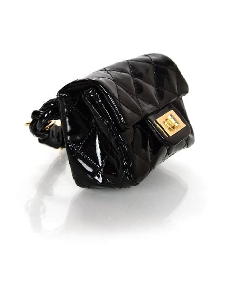 Fashion Week Ankle Purses At Chanel by Chanel Black Quilted Patent Re Issue Ankle Bag For Sale At