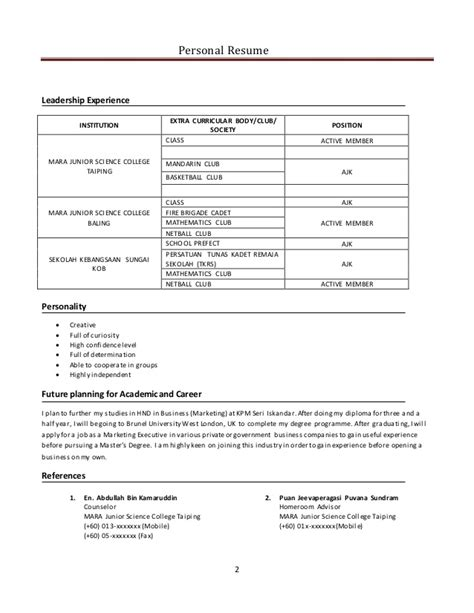 exle of resume for mock contoh resume mock