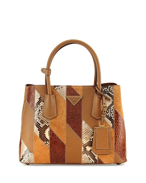 Patchwork Purses - prada python crocodile patchwork small tote bag in brown