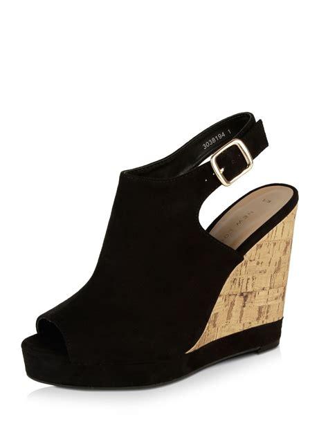 Wedges New buy new look peep toe cork wedge heels for s black wedges in india