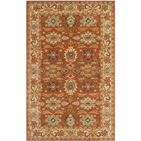 wool rug safavieh hand tufted heritage rust beige wool area rugs