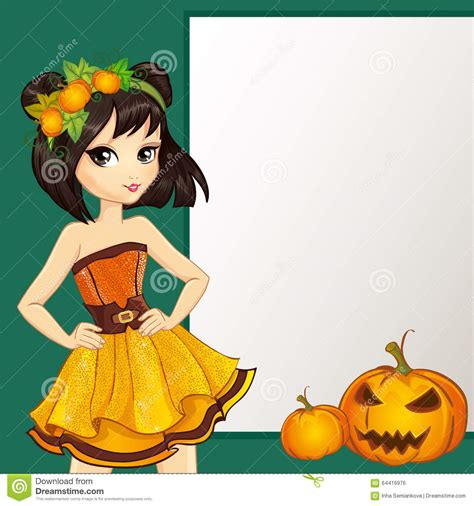 yellow witch witch in yellow dress with pumpkin stock vector image
