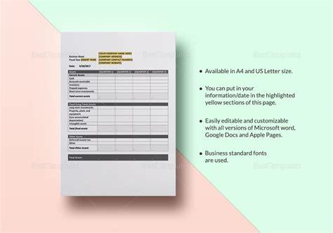 Quarterly Balance Sheet Template by Quarterly Balance Sheet Template In Word Excel