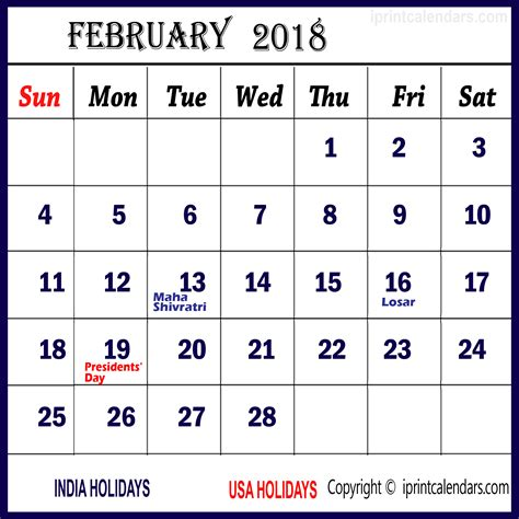 Calendar 2018 February India February 2018 Calendar With Holidays Templates
