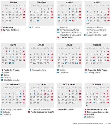 Calendario Laboral 2018 Murcia Publicado El Calendario Laboral Para 2018 El Mundo
