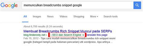 membuat wordpress muncul di google membuat breadcrumbs snippet muncul pada serps google