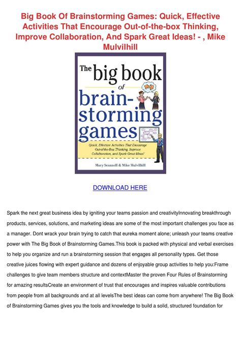 Pdf Les Big Green Cookbook by Big Book Of Brainstorming Effecti By Vallie