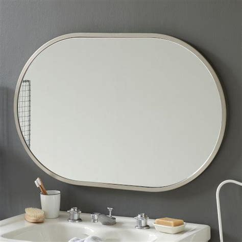 shaped bathroom mirrors a brushed nickel mirror for bathroom with an oval shape is