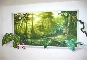 Trompe L Oeil Wall Murals Free Murals Trompe L Oeil Mural Jungle Mural With Light