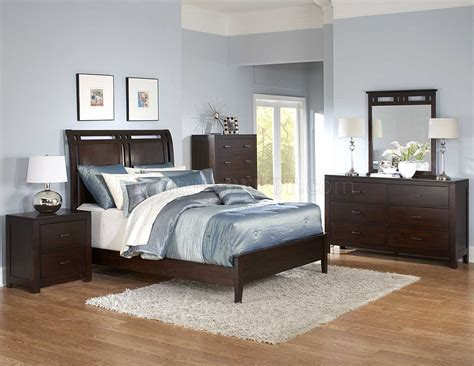 brown modern bedroom warm brown finish contemporary bedroom w optional items