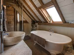 bathroom interior exposed beams painted common rafters new
