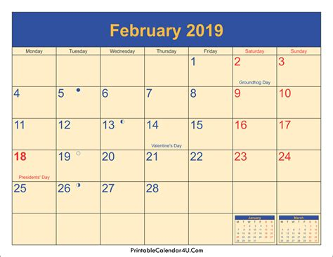 S Day Uk 2019 February 2019 Calendar Printable With Holidays Pdf And Jpg
