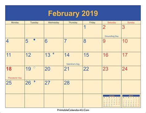 Calendar 2019 February February 2019 Calendar Printable With Holidays Pdf And Jpg