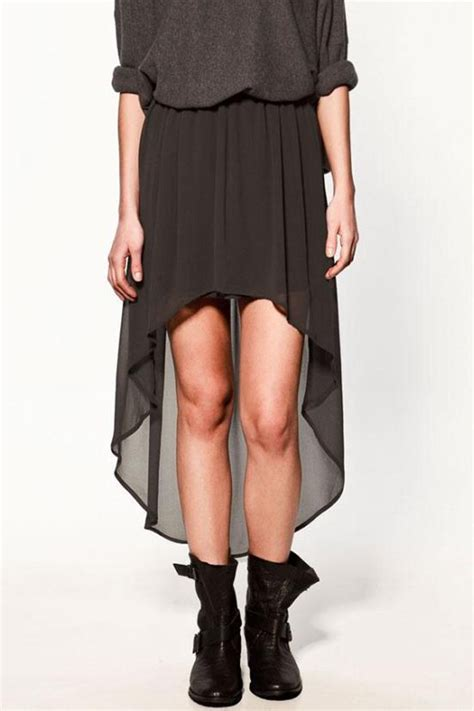 black high low semi sheer chiffon skirt skirts maxi