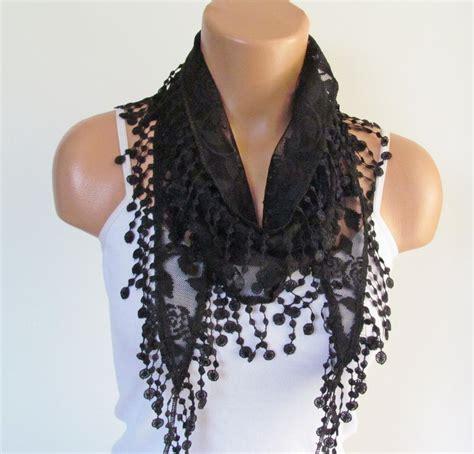 Rel Laci 60cm black lace scarf with fringe new season scarf headband