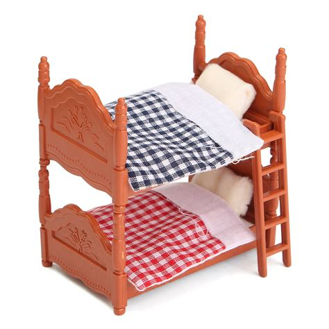 One Bed Bunk Bed 1 12 Scale Dollhouse Miniature Furniture Plastic Bunk Bed Bedroom Acessories Ebay