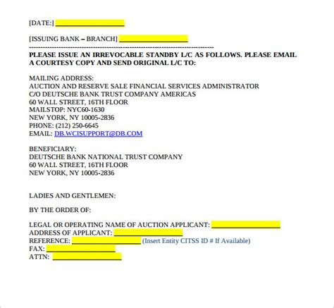 Confirmation Letter Of Credit Irrevocable Standby Letter Of Credit Template Docoments Ojazlink