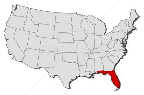 usa map new york california map of the united states florida highlighted vector