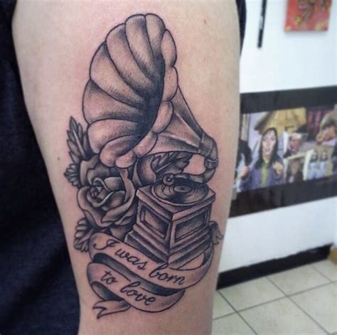 phonograph tattoo a black white idea for the phonograph