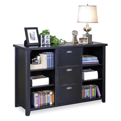 Black Wooden Bookcase With Three Shelves And Having Black Wooden Bookshelves