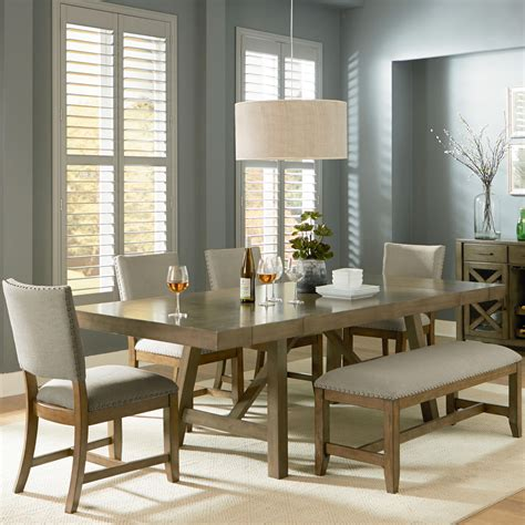 gray dining table with bench standard furniture omaha grey 6 trestle table dining