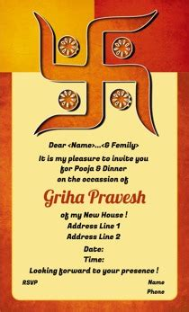 Invitation Letter Format For Griha Pravesh Griha Pravesh Invitations Printvenue Personalize Invitations Order In Bulk